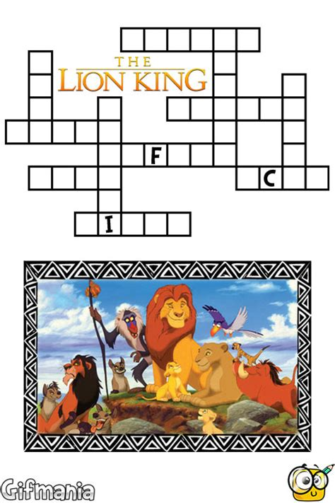 film lion crossword the lion king crossword activity page
