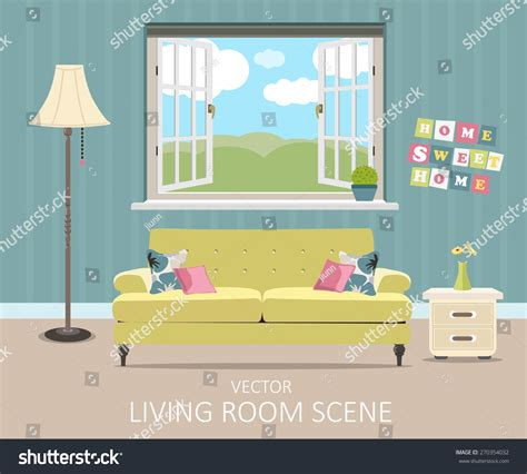 layout room español interior living room modern flat design imagem vetorial de