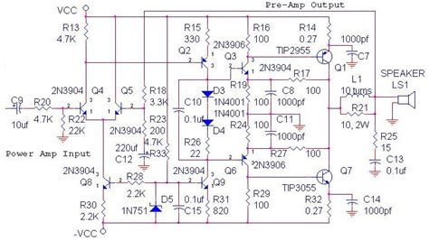 gambar layout ocl power amplifier ocl tone control