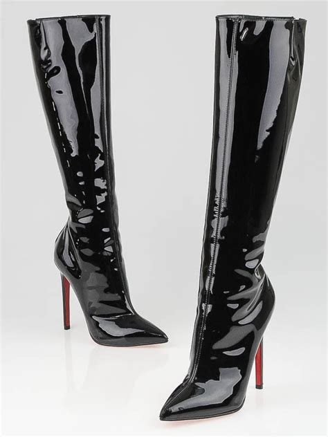 pretty boots christian louboutin black patent leather pretty 120