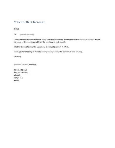 rent increase letter template notice of rent increase form letter templates likes