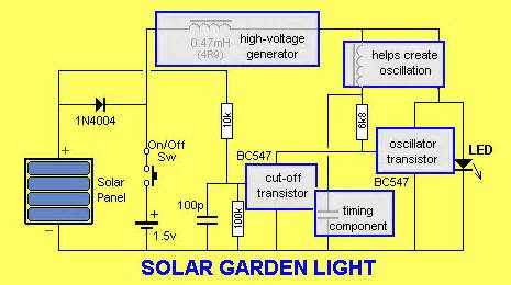 solar garden light circuit solar light