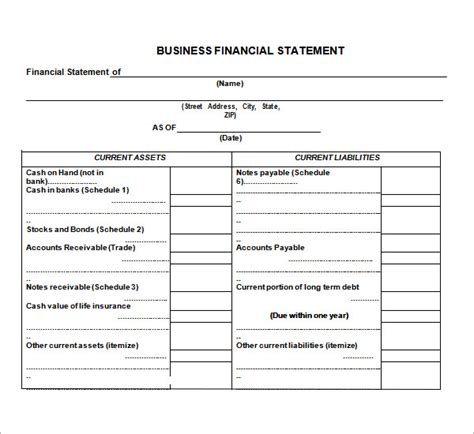 financial statement template for small business 7 financial statement templates
