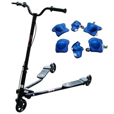 3 wheel swing scooter black 3 wheel swing tri motion slider winged push scooter