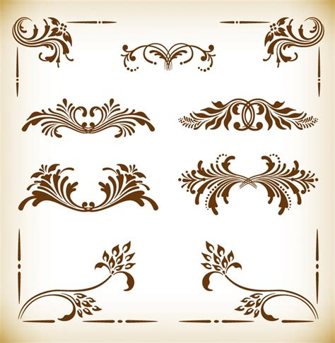 cornici illustrator vintage frames and scroll elements vector illustration
