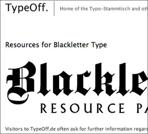 typography resources new page for blackletter resources typeoff