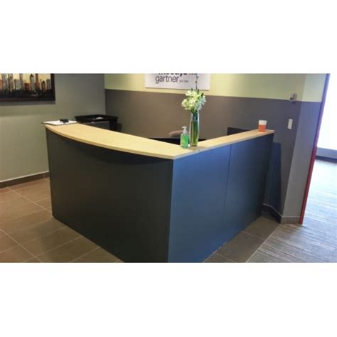 Global Grey Blonde L Shape Reception Desk W Transaction Reception Desk With Transaction Counter