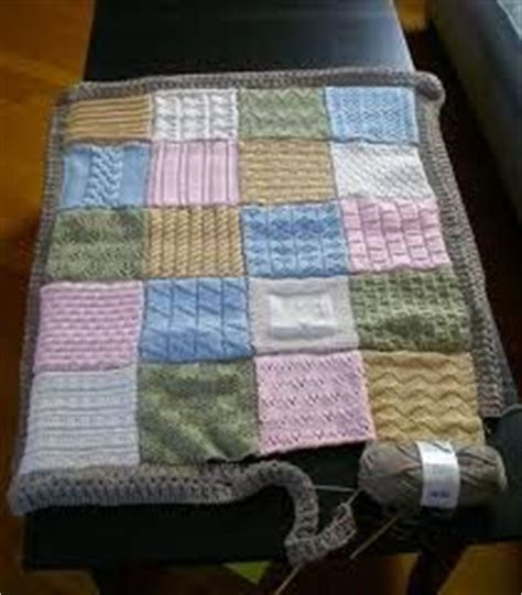 Knitted Patchwork Blanket Pattern - knitted patchwork blanket blue baby blanket by