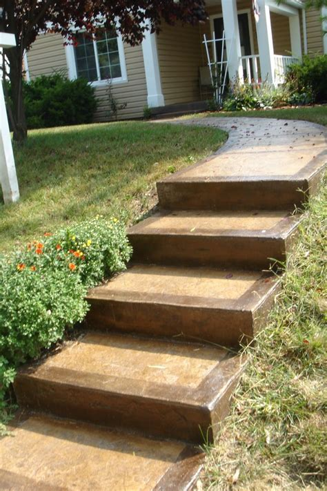 stained concrete steps and walkway landscape pinterest