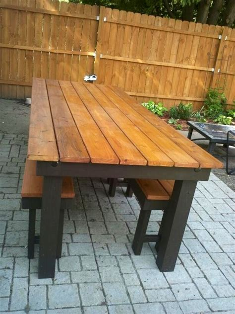 ana white modified rustic table  benches diy projects
