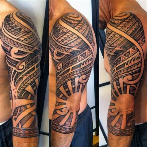 negative space tribal tattoos polynesian tribal half sleeve with negative space