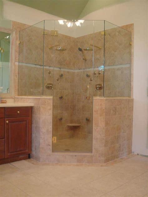 half wall shower corner shower no door half glass master