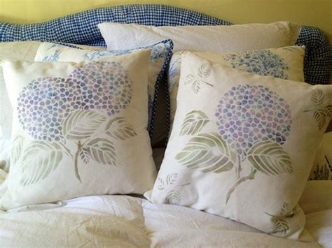 Japanese Pillow Talk by Japanese Hydrangea Floral Stencil Cushions Crafts And