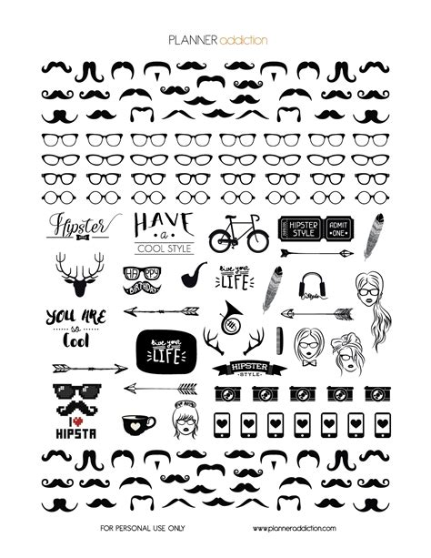 printable white stickers black white hipster planner addiction free printable