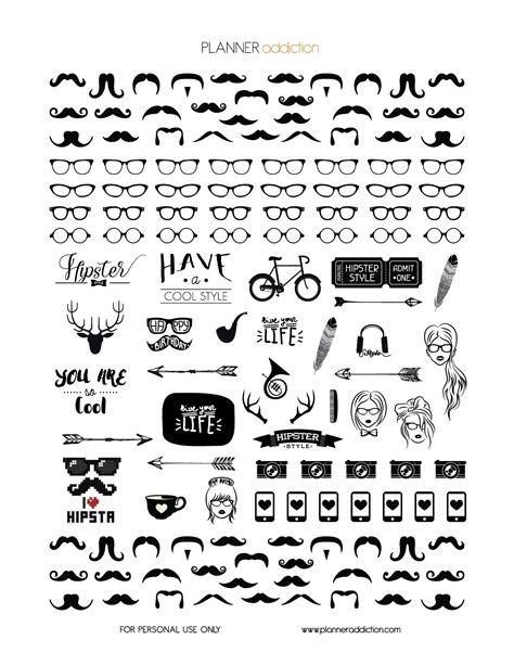 printable white stickers black white hipster planner addiction free printable