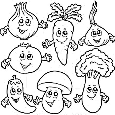 coloring book pages of vegetables vegetables coloring pictures for preschoolers all