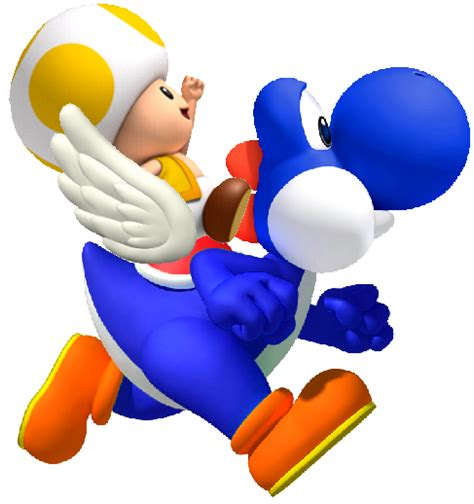blue yellow toad from mario does yoshi a shell or a saddle on his back