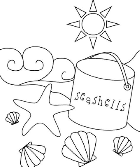 seashell coloring pages preschool beach sea shell coloring page coloring pages pinterest