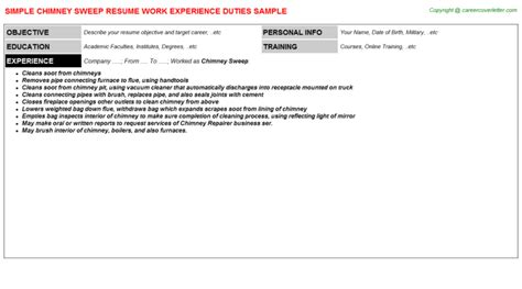 Chimney Sweep Essay by Chimney Sweep Resume Sle Descriptions And Duties