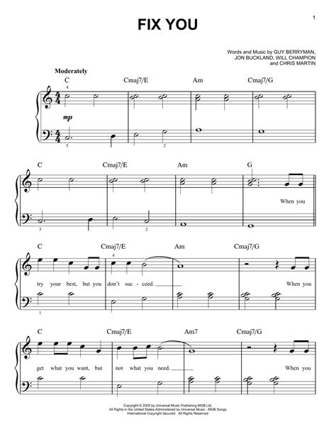 coldplay chords fix you fix you sheet music by glee cast easy piano 88669