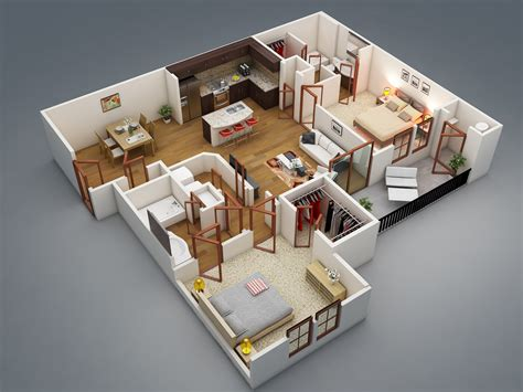 2 Bedroom 50 Two Quot 2 Quot Bedroom Apartment House Plans Architecture
