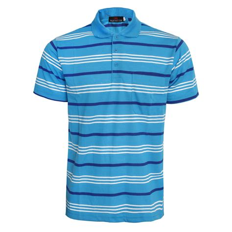 Mens Shirt Polo Blue Stripes B Bross mens sleeve stripe polo top golf tennis t shirt tees pique size m l xl ebay