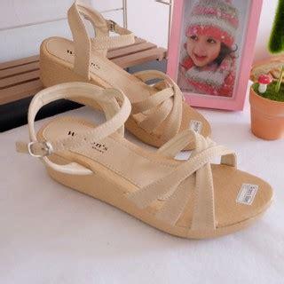 elfa04 sepatu sandal sendal wedges wanita cewek kulit