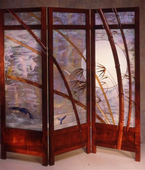 stained glass room divider glass and wood shoji screen by william poulson interior exterior design stained