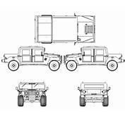 CAR Blueprints  Hummer H1 Vector Drawings