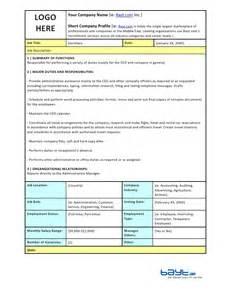 secretary job description template by bayt com