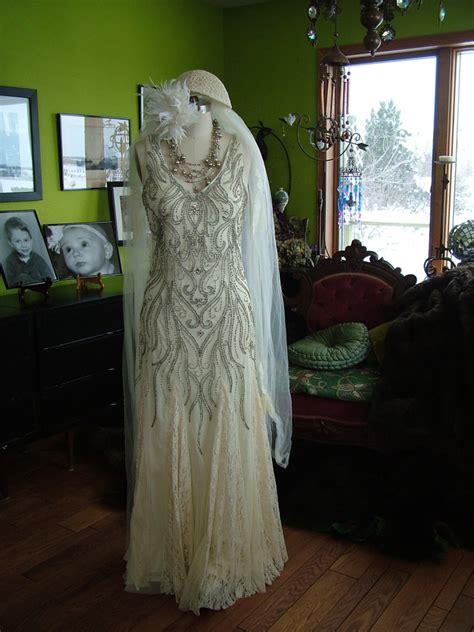 beaded deco wedding dress beaded deco vines 1920s style wedding dress tres