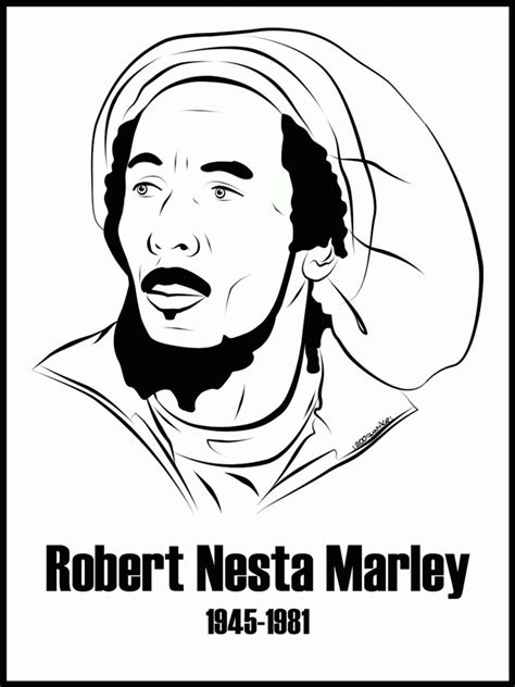 Bob Marley Coloring Page - Coloring Home