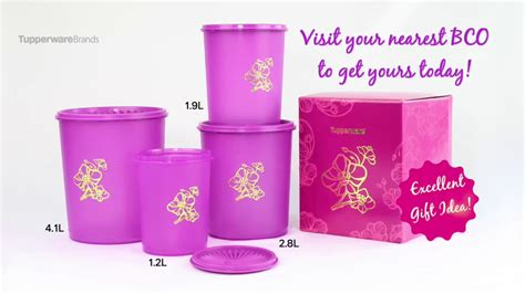 Tupperware Deco Canister 2pcs golden flora deco canister set