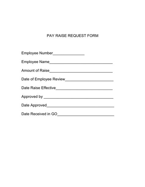 Hourly Raise Letter Pay Raise Request Form In Word And Pdf Formats