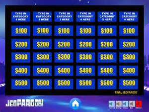 Jeopardy Template by Blank Jeopardy Template Www Imgkid The Image Kid