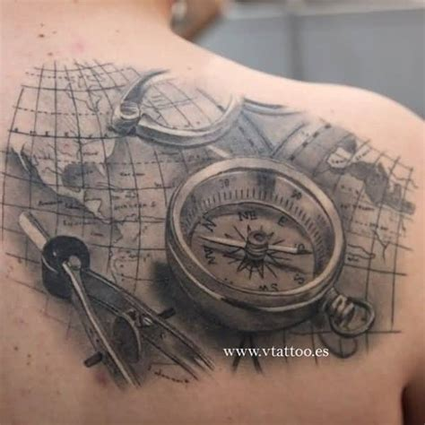 3d compass and map nautical tattoo on back shoulder