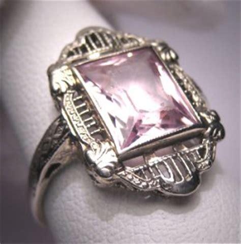antique morganite ring vintage deco wedding emerald