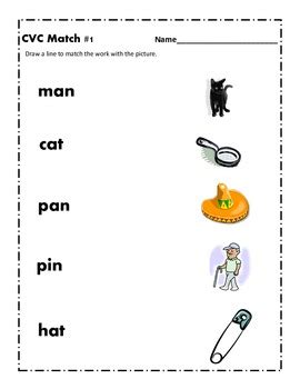 matching cvc words to pictures worksheets cvc word worksheet 1 by a is for apple teachers pay teachers
