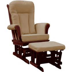 Glider Rocker With Ottoman On Me Elysium Glider Rocker With Matching Ottoman Espresso Finish Beige Cushion Walmart