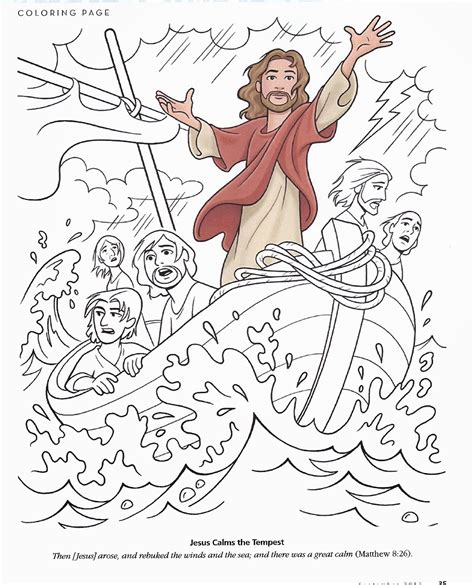 free coloring page jesus calms the storm happy clean living primary 2 lesson 17