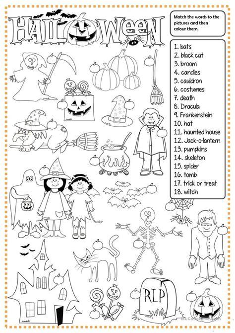 esl printable worksheets halloween halloween matching worksheet free esl printable
