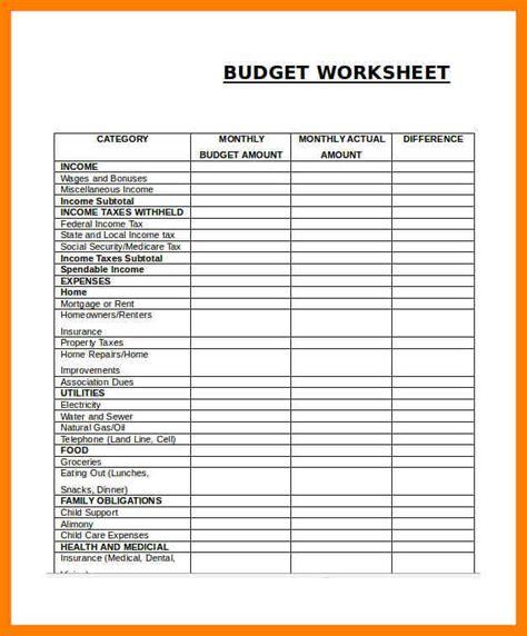 Easy Budget Worksheet by 12 Simple Budget Worksheet Xavierax