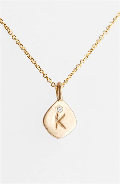 nunu designs small initial pendant necklace in gold k