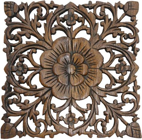 wood plaque carved lotus rustic wall decor carved wall asiana home decor