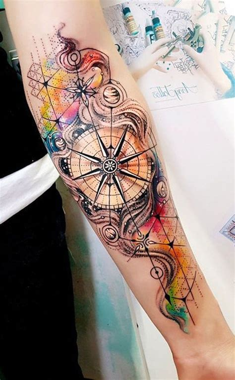 inner arm tattoos for females watercolor compass inner forearm ideas for