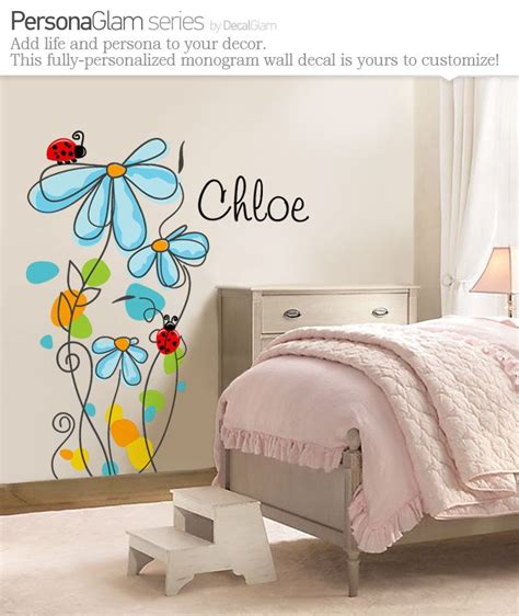 Wandgestaltung Modern 4901 by Childrens Wall Decal Flowers Ladybugs With Name