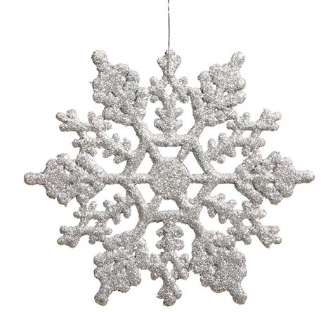 6 25 inch artificial glitter snowflake ornament set of 12