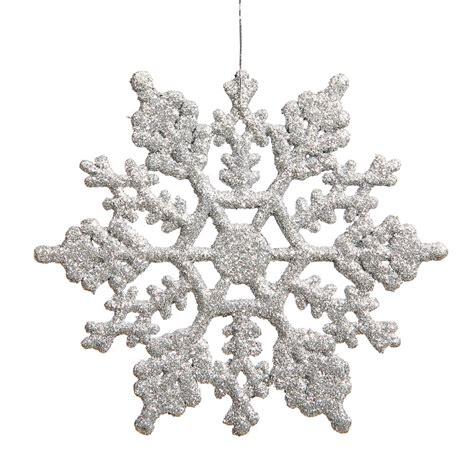 6 25 inch artificial glitter snowflake ornament set of 12