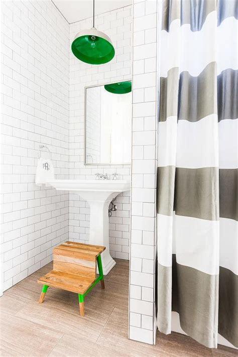 Boy Bathroom Shower Curtains Alyssa Rosenheck Boy Bathroom With Green Striped Shower Curtain