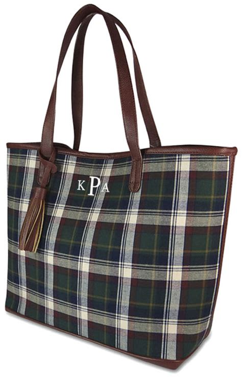 Plaid Bag monogram tartan plaid tote bag